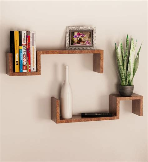 Home Shelf Designs by Mango Wood Set Of 2 Wall Shelves By Home Sparkle