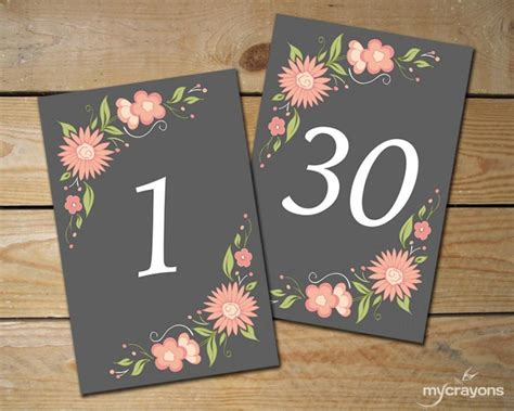 4x6 printable grey and pink scroll table numbers by romantic floral table numbers 1 30 diy printable