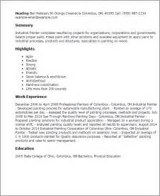 Professional Painter Cover Letter by Professional Industrial Painter Templates To Showcase Your Talent Myperfectresume