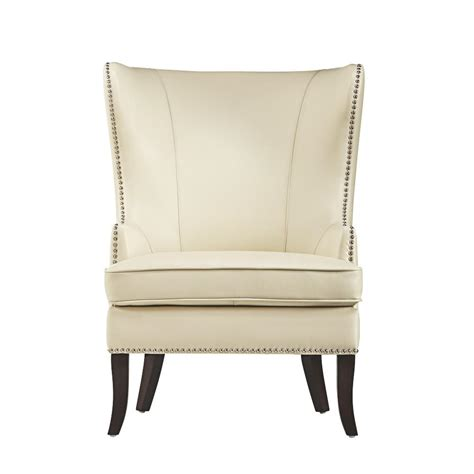 Home Decorators Accent Chairs by Home Decorators Collection Ivory Bonded Leather Wing