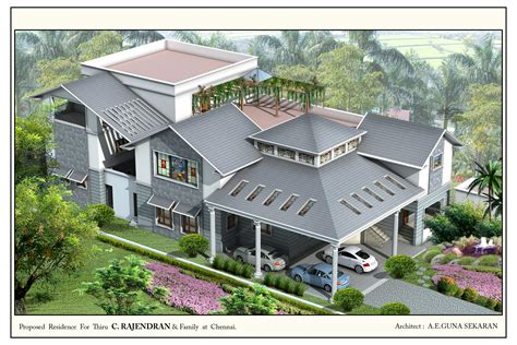 Small 1 Bedroom House Plans Top View Of The Residential House Elevation In 3d Gharexpert