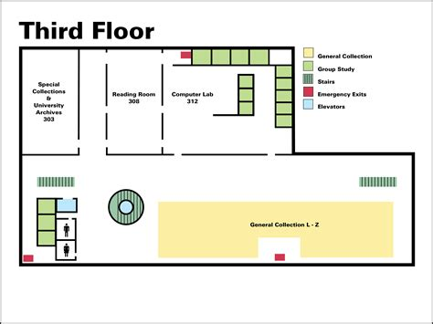 3rd Floor by Library Building Map Third Floor