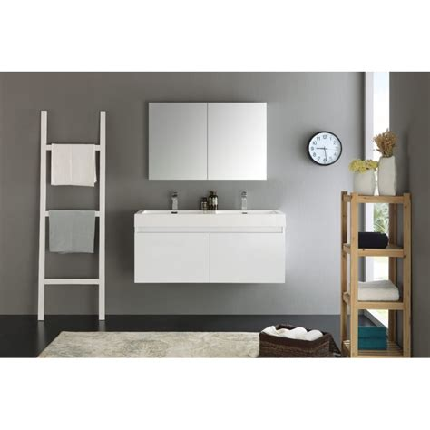 Wall Hung Bathroom Vanities Cabinets Fresca Mezzo 48 Quot White Wall Hung Sink Modern Bathroom Vanity W Medicine Cabinet
