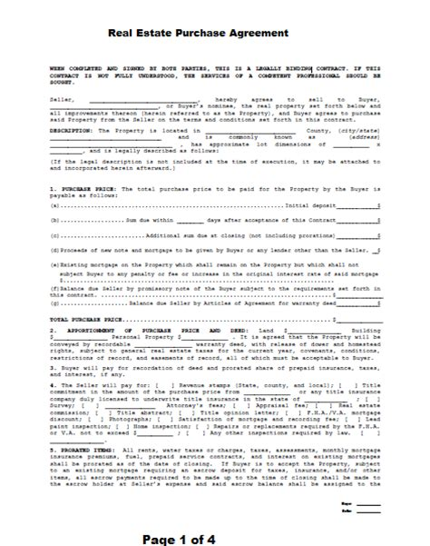 real estate contract template sle real estate purchase agreement free printable
