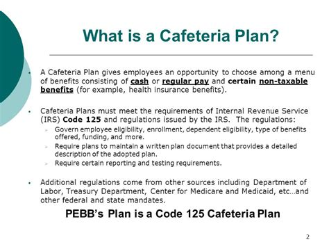 irs section 125 rules public employees benefit board cafeteria plans ppt video