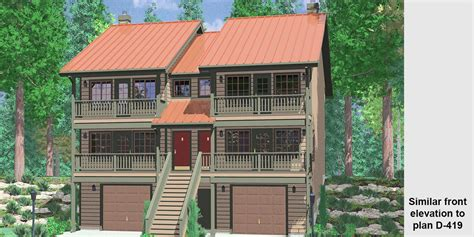 duplex house plans designs multi family sloping lot plans hillside plans daylight