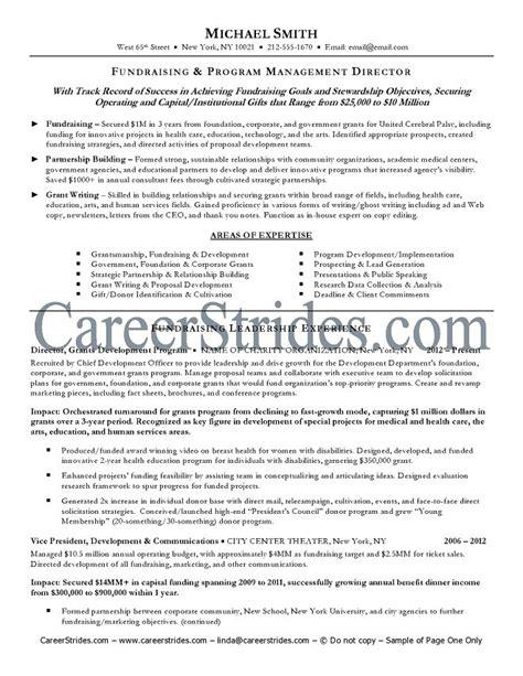 Fundraising Resume by Fundraiser Resume Sle Exle