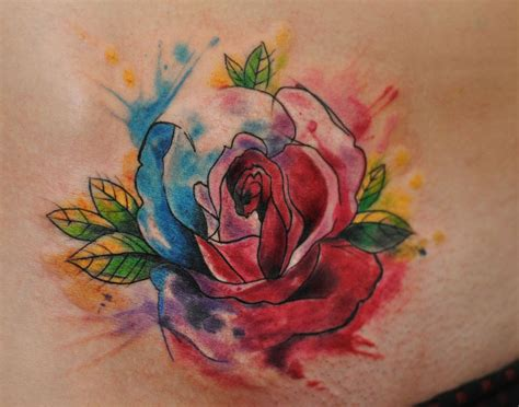 aquarell tattoo mit rose von dopeindulgence tattooimages biz