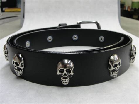 handmade in u s a solid thick black leather belt with skull