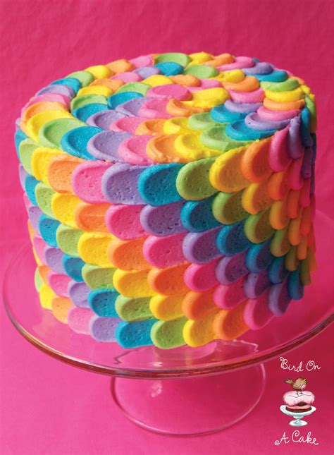 Colourfull Cake bird on a cake rainbow petal cake baby shower