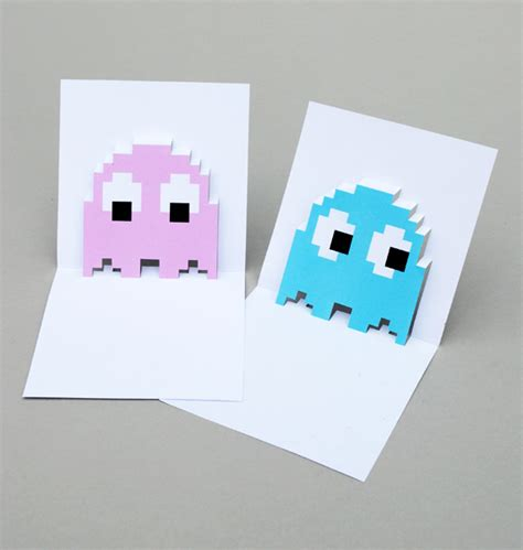 make pop up card template pacman ghost popup cards minieco
