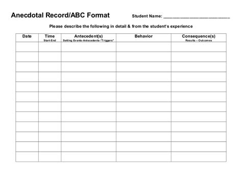Data Collection Forms Classroom Data Collection Template