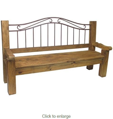 wrought iron wood bench rustic wood wrought iron bench