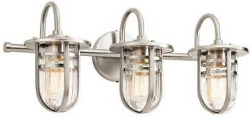 polished nickel bathroom lighting fixtures kichler 45133ni caparros modern brushed nickel 3 light