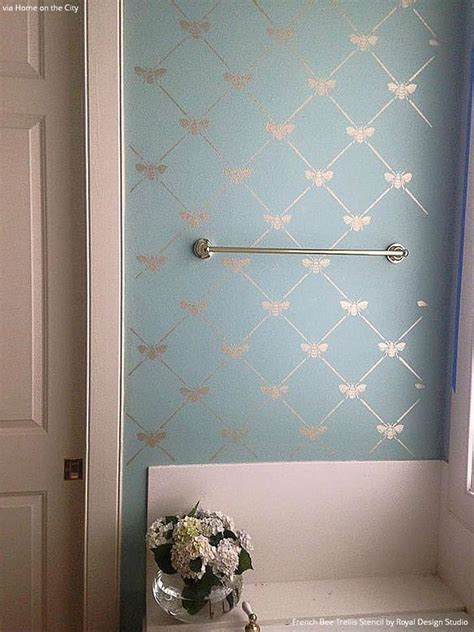 Bathroom Wall Stencil Ideas by Bee Trellis Stencil Bathroom Makeovers Pastel