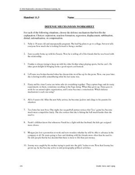 Defense Mechanisms Worksheet Answers defense mechanisms worksheets defense mechanisms