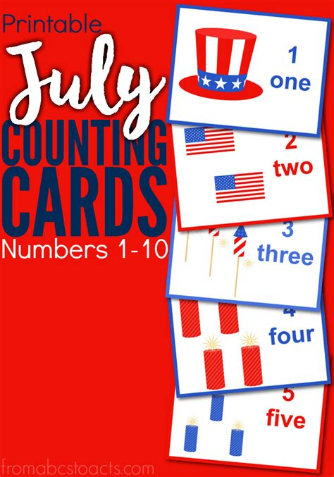 July Card Of The Month by Printable July Counting Cards Numbers 1 10 From Abcs To Acts