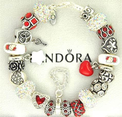hello and charms authentic pandora silver charm bracelet with charms