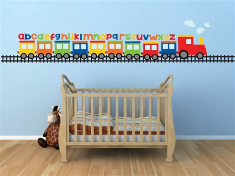 Childrens Wall Mural Stickers train wall decal alphabet decal abc wall decal