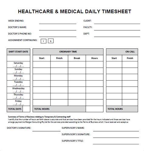 7 Sle Time Sheets Sle Templates Timesheet Template Sheets