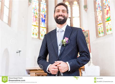 groom  wedding waiting  bride  altar stock photo