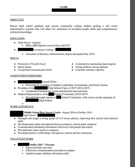 recent high school graduate resume resume ideas