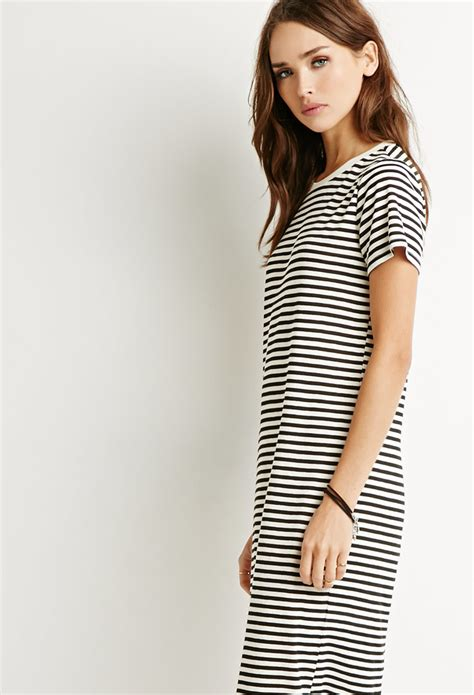 Classic Shirt Dress lyst forever 21 classic striped t shirt dress in black