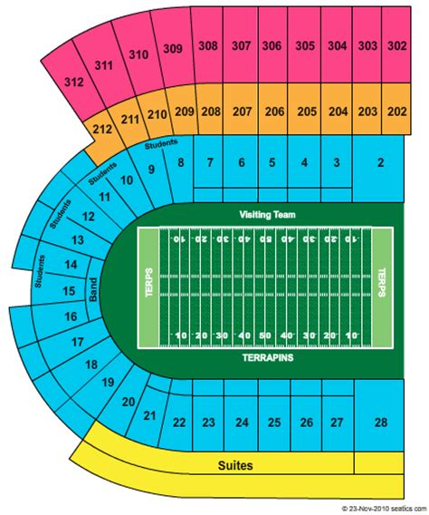 seating charts maryland terrapins athletics university byrd stadium seating chart