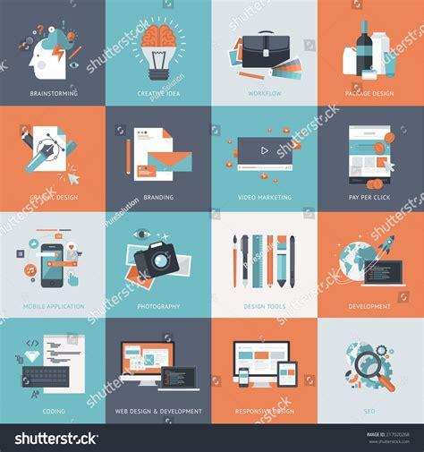 design concept graphic set flat design concept icons website stock vector
