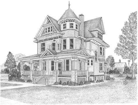 drawing home victorian house aviston il pencil drawing by keith