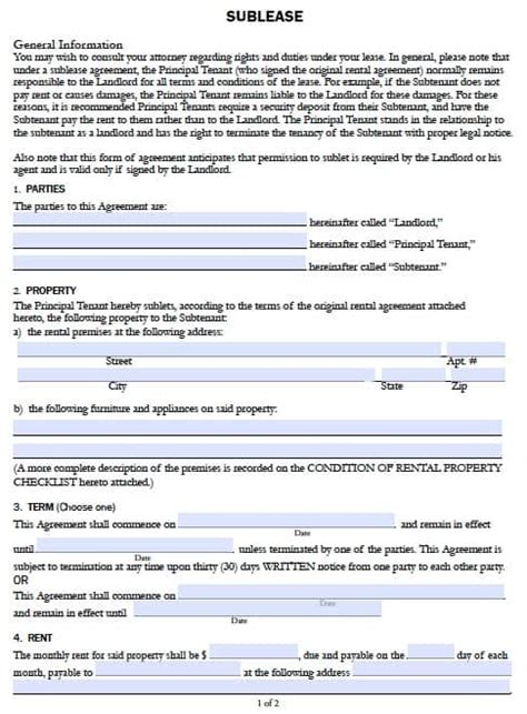 Free California Sublease Agreement Form Pdf Template Rental Contract Template California