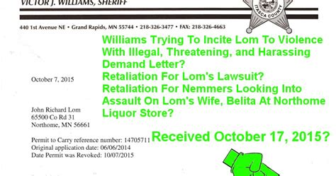 Demand Letter Prior To Lawsuit News Itasca Co Sheriff Vic Quot Ol Boy 2 Quot Williams Sends Lom Threatening