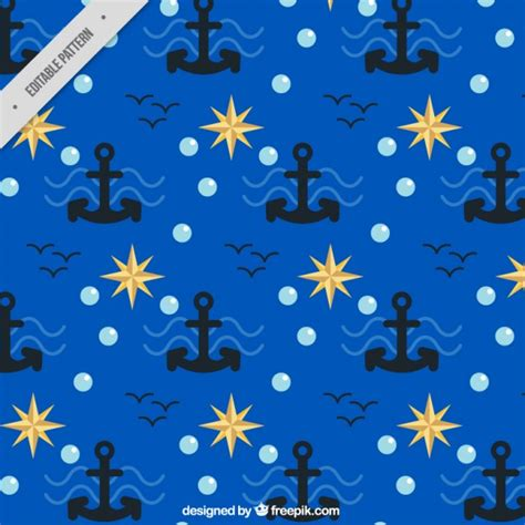 nautical pattern vector free blue nautical pattern with anchors vector free download