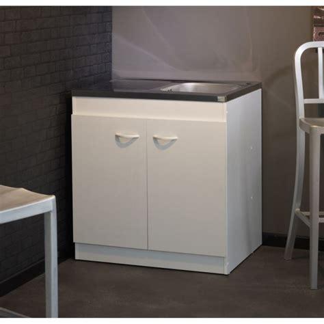 Meuble sous évier COSMOS Blanc L80 cm   Achat / Vente