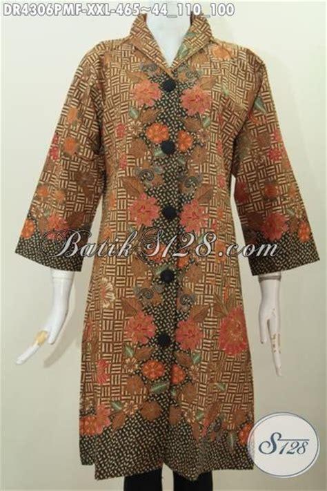 desain gaun batik elegan baju dress batik klasik motif bunga busana batik 3l