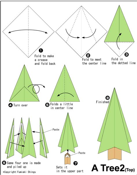 Tree Origami - tree 2 easy origami for