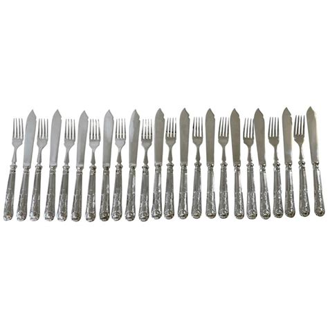 kings pattern knives and forks english kings pattern sterling silver fish knives and