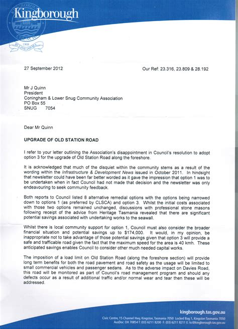 Letter Response To His Coy Response Letter Re Foreshore Road Letter From Calsca Coningham And Lower Snug Community