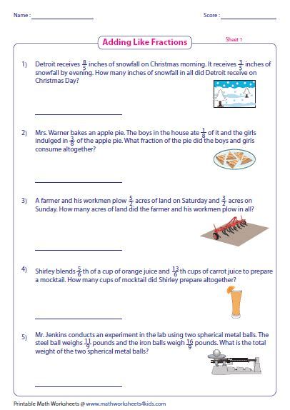 Fractions Word Problems Worksheets by Fraction Word Problems Worksheet Word Problems