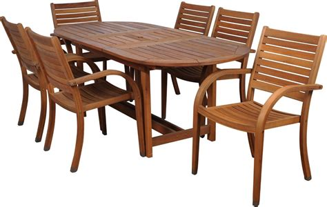 Wood Patio Table Set Amazonia Arizona 7 Wood Outdoor Dining Set With 83 Quot Oval Table And 6 Stackable Chairs