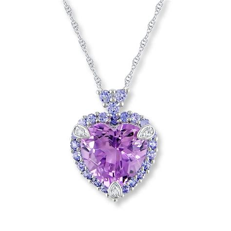 amethyst necklace tanzanites diamonds 10k