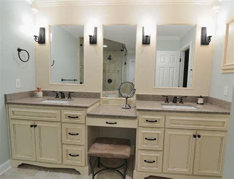 bathroom vanity countertop ideas classic beige vanity with elegant frameless mirrors using