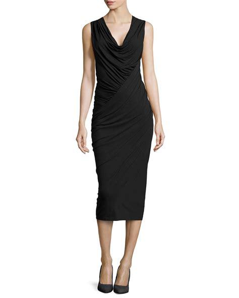 donna karan draped dress donna karan new york sleeveless draped jersey dress in