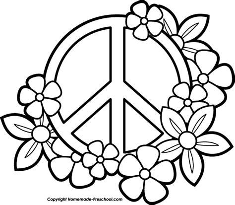 Free Peace Sign Clipart Peace Coloring Pages
