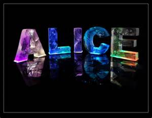 the name alice in 3d coloured lights