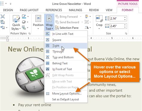 picture layout square word 2013 lession 25 changing the text wrapping settings