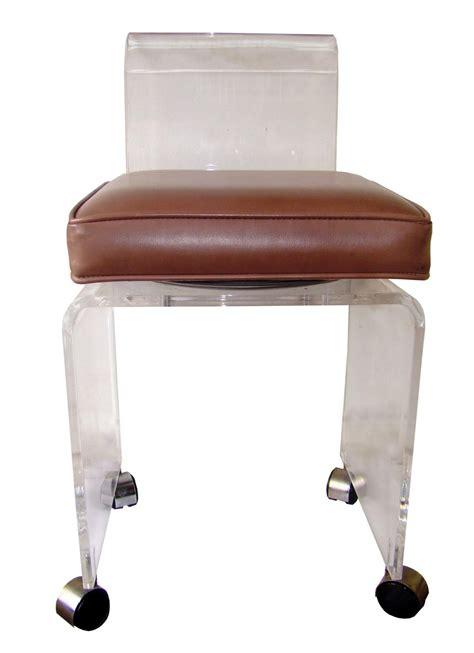mid century modern rolling lucite vanity stool swivel