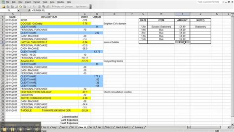 small business expense template expenses spreadsheet using a personal bank account for
