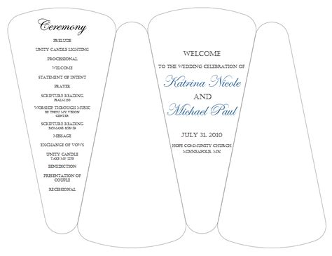 wedding programs templates free fan wedding program free template mastersport