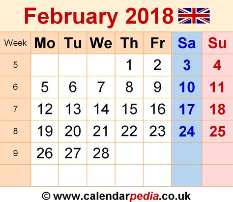 feb week calendar february 2018 uk bank holidays excel pdf word